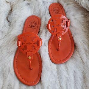 Tory Burch Orange Patent Top Miller Sandal 7M